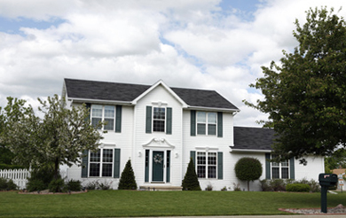 Bright White Exterior Siding With Black Trim